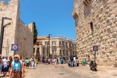 Straßen der alten Stadt in Jerusalem Stockfotos