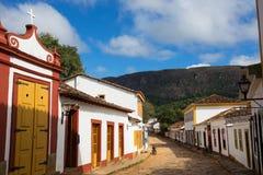 Straßen der historischen Stadt Tiradentes Brasilien stockfotos