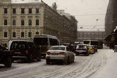 Straßen der Stadt mit Staus Stockbilder