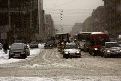 Straßen der Stadt mit Staus Lizenzfreie Stockfotos