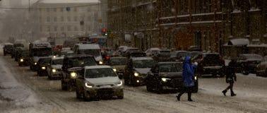 Straßen der Stadt mit Staus Lizenzfreies Stockfoto
