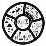 Straßen-, Gebirgs-und Holz-Abenteuer-Karte vektor abbildung