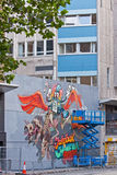 Straßen-Künstler bei der Arbeit Stockfotos