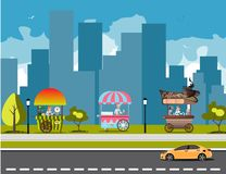 Straßen-Lebensmittel-Warenkorb Stockfotos
