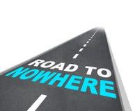 Straßen-nirgendwo - Wörter auf Autobahn Stockfotografie