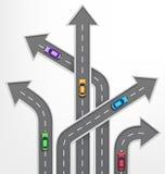 Straßen-Pfeil-Reise-Hintergrund mit Autos auf Weiß Stockfoto
