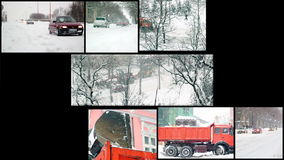 Straßen-Schneeräumung - Schneesturm in der Stadt stock video