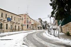 Straßen Snowy Jerusalem Lizenzfreie Stockfotos
