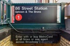 86 Straßen-Stations-U-Bahn - NYC Lizenzfreie Stockbilder