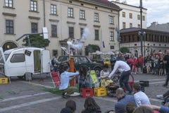 Straßen-Theater Muzikanty Stockfoto