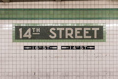 14. Straßen-U-Bahnstation - New York City Stockbilder