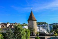 Straßen und Gebäude von Aarau, die Schweiz Lizenzfreies Stockfoto