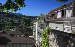 Straßen und Gebäude von Aarau, die Schweiz Lizenzfreies Stockbild