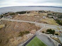 Straßen- und Sportinfrastrukturvogelperspektive, Brummenansicht Stockbild
