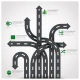 Straßen-und Straßen-Verkehrszeichen-Geschäft Infographic mit dem Spinnen von A Stockbild