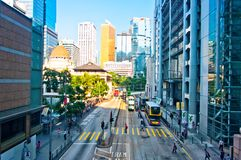 Straßen und Verkehr im Hong- KongFinanzzentrum Stockbilder