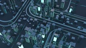 Straßen und Wolkenkratzer von einer Vogel ` s Augenansicht stock abbildung