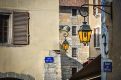 Straßen von Annecy, Frankreich Stockfotos