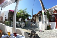 Straßen von Folegandros Stockfotografie