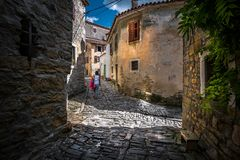 Straßen von Rovinj kroatien lizenzfreies stockbild
