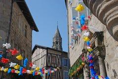 Straßen von St Leonard de Noblat in Limousin-Region Lizenzfreies Stockbild
