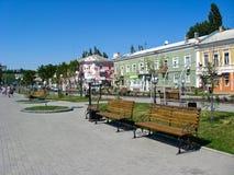 Straßen von Urlaubsstadt von Berdyansk Stockfotos