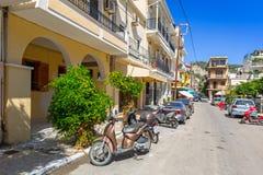 Straßen von Zante-Stadt auf Zakynthos-Insel Lizenzfreies Stockbild