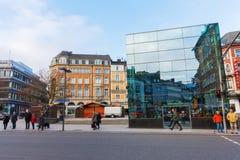 Straßenansicht bei Peter Street in Aachen, Deutschland Lizenzfreie Stockfotos