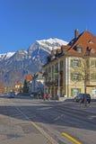 Straßenansicht der Alpen in der Stadt von schlechtem Ragaz Stockfoto