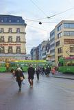 Straßenansicht der alten Stadt in Basel Stockbild