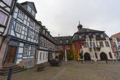 Straßenansicht einer mittelalterlichen Stadt Gelnhausen Stockbild