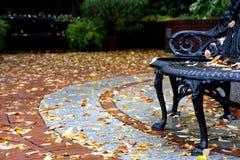 Straßenansicht am Herbst mit Bank und Blättern Stockfotografie