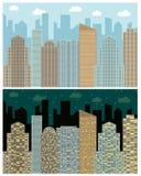 Straßenansicht mit Stadtbild, Wolkenkratzern und modernen Gebäuden in Tag und Nacht Stockbilder