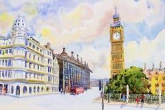 Straßenansicht in roten Bus Londons bei England lizenzfreie abbildung