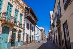 Straßenansicht vom alten Stadtzentrum, San Cristobal de La Laguna, Teneriffa, Kanarische Inseln, Spanien - 13 05 2018 stockbilder