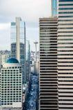 Straßenansicht von im Stadtzentrum gelegenem Seattle Stockfotos