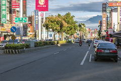Straßenansicht von Pingtungs-Stadt, Taiwan Stockfotos