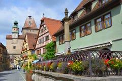 Straßenansicht von Rothenburg-ob der Tauber, Deutschland Lizenzfreie Stockbilder