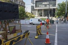 Straßenarbeiten auf Spencer Street, Melbourne, Australien Stockbild