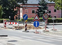Straßenarbeiten an der Stadt Lizenzfreie Stockfotografie