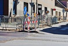 Straßenarbeiten an der Stadt Lizenzfreie Stockbilder
