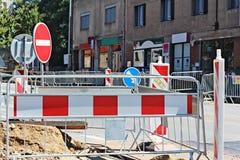 Straßenarbeiten an der Stadt Stockfoto