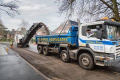 Straßenarbeiten in Großbritannien Stockbilder