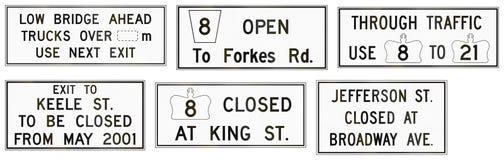 Straßenarbeiten unterzeichnen herein Ontario - Kanada Lizenzfreie Stockfotografie