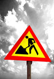 Straßenarbeiten-Zeichen-Auszug Stockfotos