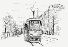 Straßenbahn in einer Großstadt Stockfotografie