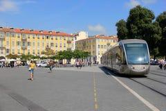 Straßenbahn in Nizza Stockbild