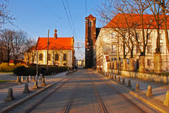 Straßenbahn-Spur im Wroclaw Stockbild