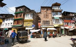 Straßenbasar von Srinagar - Kaschmir, Indien stockbild