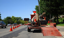Straßenbau-Merge Stockfotos